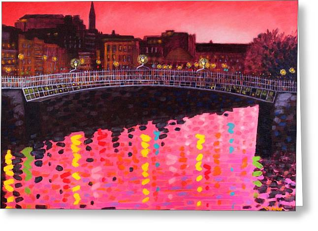 Bridge Greeting Cards Greeting Cards - Magenta Evening Dublin Greeting Card by John  Nolan