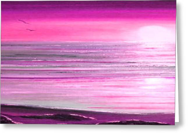 Sunset Posters Greeting Cards - Magenta Panoramic Sunset Greeting Card by Gina De Gorna