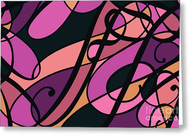 Fashion Art For Print Greeting Cards - Magenta Swirl Abstract Design Greeting Card by Jayne Logan Intveld