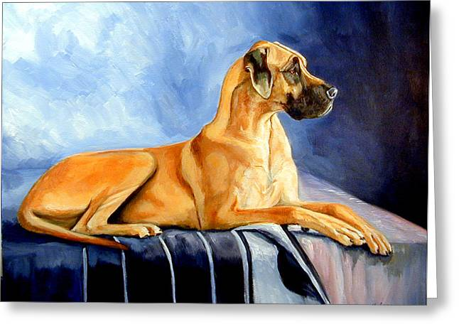 Great Paintings Greeting Cards - Magesty Great Dane Greeting Card by Lyn Cook