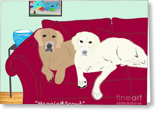 Maggie And Scout Greeting Card by Cheryl Snyder