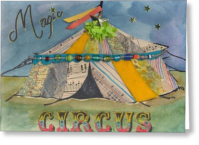 Colorful Beads Greeting Cards - Magic Circus Greeting Card by Casey Rasmussen White