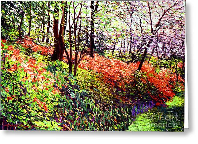 Tree Blossoms Paintings Greeting Cards - Magic Flower Forest Greeting Card by David Lloyd Glover