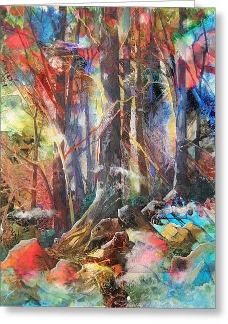 Patricia Mixed Media Greeting Cards - Magic Forest Greeting Card by Patricia Allingham Carlson