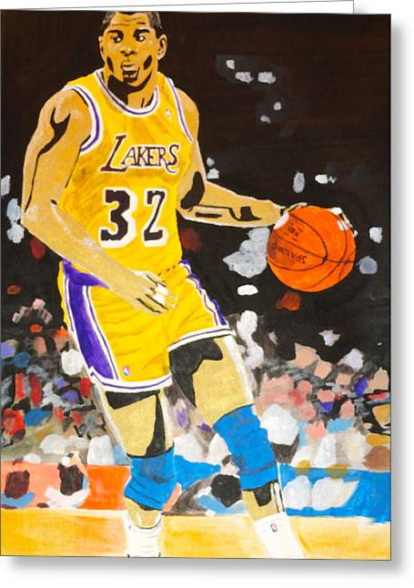 Lakers Paintings Greeting Cards - Magic Johnson Greeting Card by Estelle BRETON-MAYA
