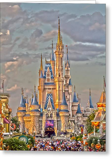 Manatee Co. Greeting Cards - Magic Kingdom Magic Hour Greeting Card by Nicholas Evans