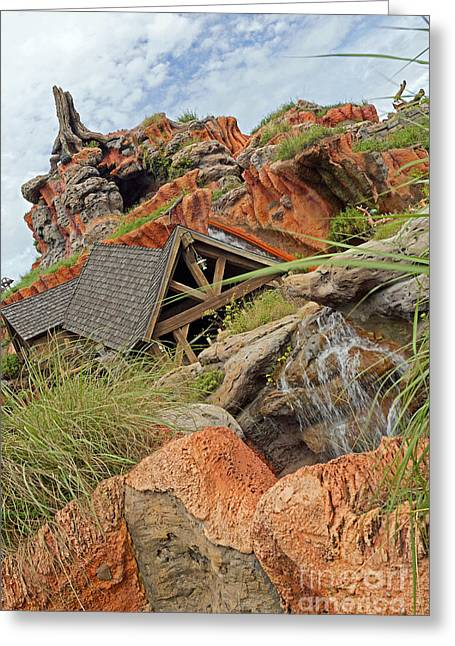 Fall Pyrography Greeting Cards - Magic Kingdom - Splash Mountain Greeting Card by AK Photography