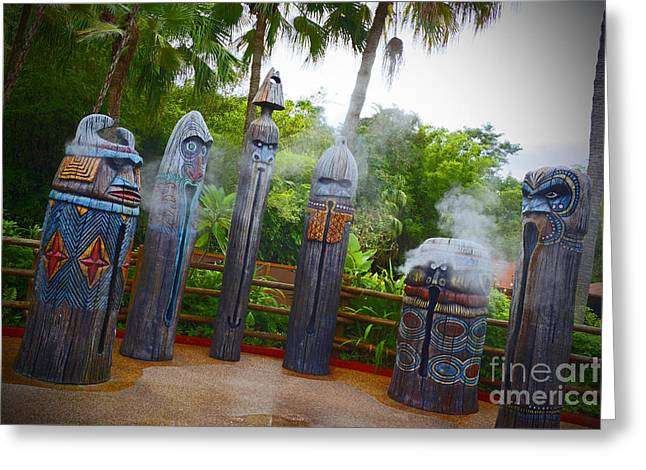 Mist Pyrography Greeting Cards - Magic Kingdom - Tiki Statues Greeting Card by AK Photography