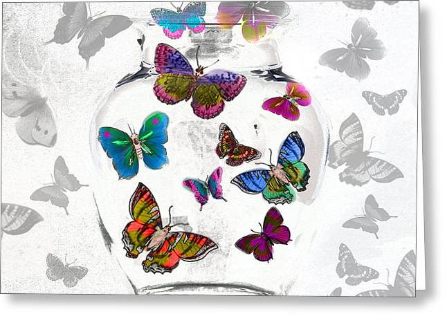 Magic Moth Jar Greeting Card by Suni Roveto