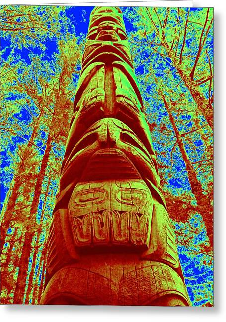 Wood Carving Digital Art Greeting Cards - Magic Of The Shaman Greeting Card by Randall Weidner