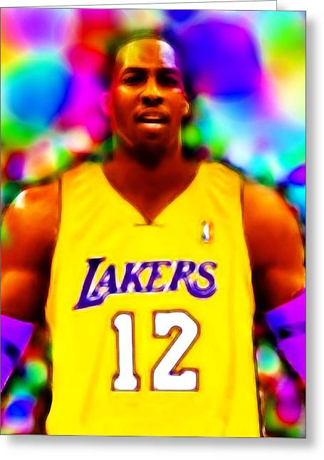 Dwight Howard Greeting Cards - Magical Dwight Howard Laker Greeting Card by Paul Van Scott