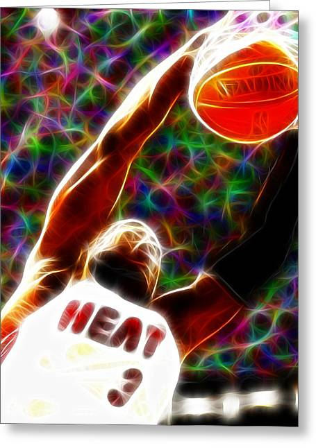 Miami Heat Digital Art Greeting Cards - Magical Dwyane Wade Greeting Card by Paul Van Scott