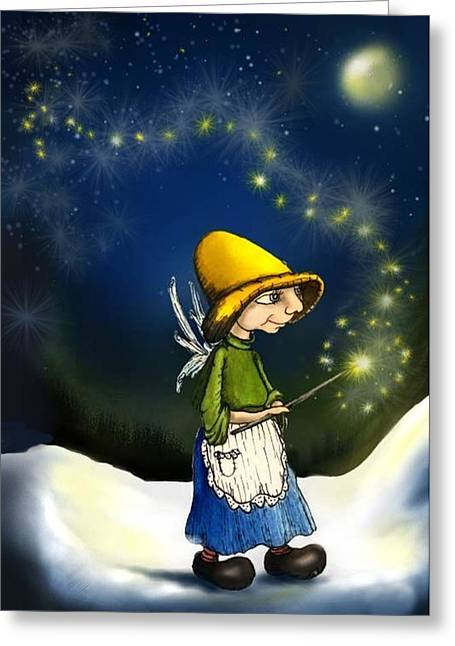 Fairy With Magic Wand Nighttime Greeting Cards - Magical Hope Greeting Card by Hank Nunes