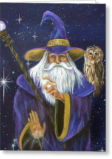 Merlin Greeting Cards - Magical Merlin Greeting Card by Sundara Fawn