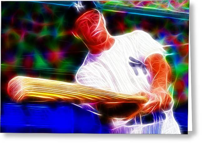Ny Yankees Drawings Greeting Cards - Magical Mickey Mantle Greeting Card by Paul Van Scott