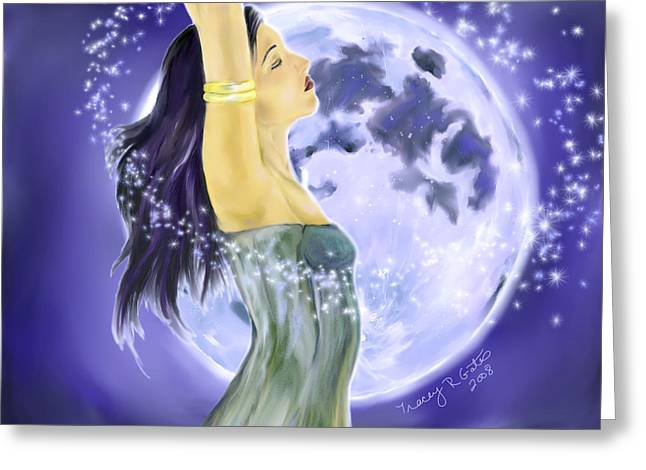Empowerment Greeting Cards - Magical Moonlight Greeting Card by Tracey R Gates