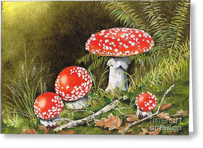Forest Floor Paintings Greeting Cards - Magical Mushrooms Greeting Card by Val Stokes