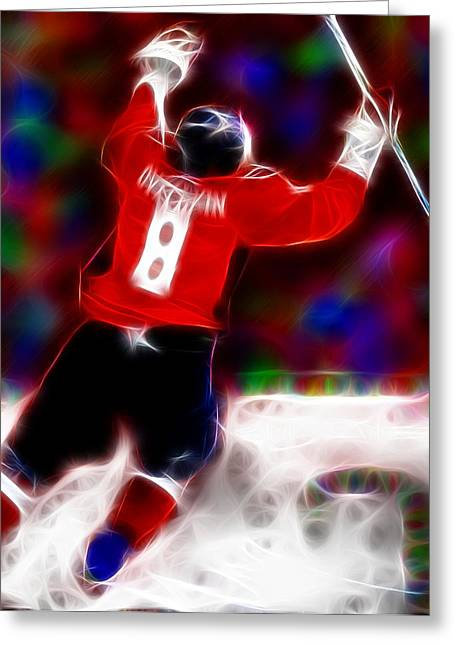 Alex Ovechkin Greeting Cards - Magical Ovechkin Greeting Card by Paul Van Scott