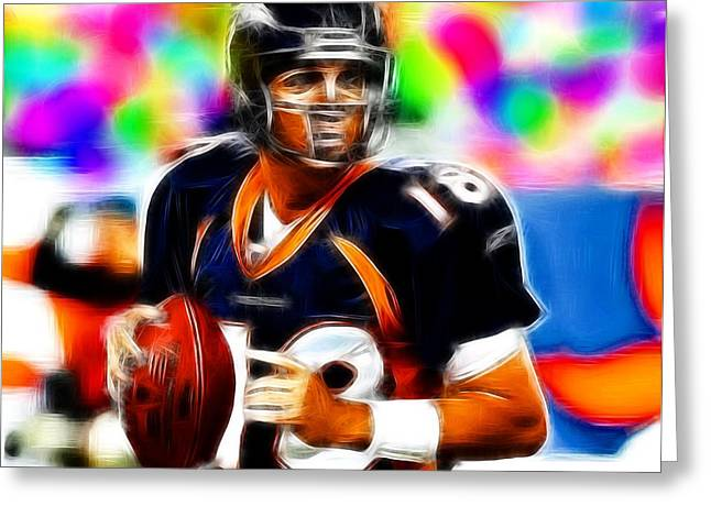 Player Drawings Greeting Cards - Magical Peyton Manning Borncos Greeting Card by Paul Van Scott