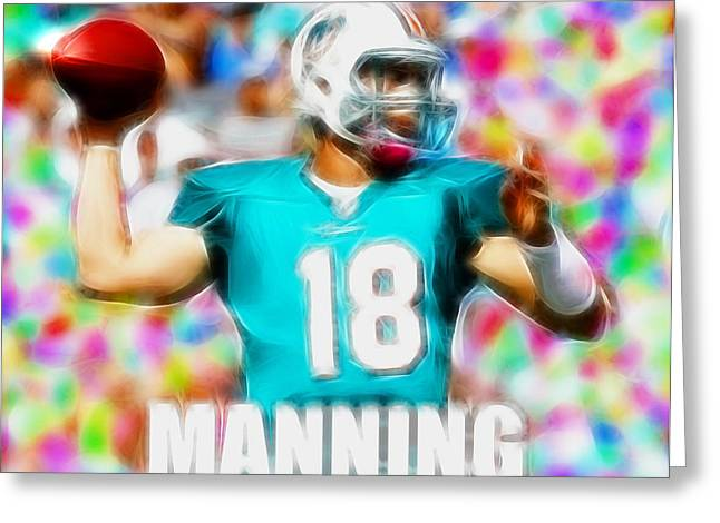 Miami Dolphins Drawings Greeting Cards - Magical Peyton Manning Miami Dolphins Greeting Card by Paul Van Scott