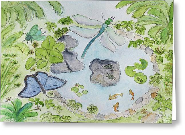 Best Sellers -  - Flying Frog Greeting Cards - Magical Pond Greeting Card by Maggie McFarland