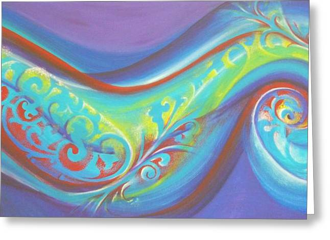 Surf Lifestyle Paintings Greeting Cards - Magical Wave Water Greeting Card by Reina Cottier