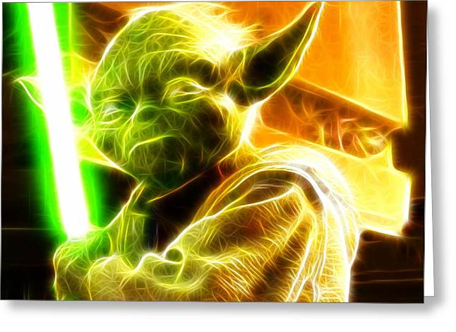 Magical Yoda Greeting Card by Paul Van Scott