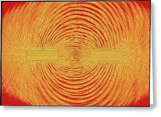 Magnetic Field Greeting Cards - Magnetic Field Around Bar Magnets Greeting Card by Pasieka