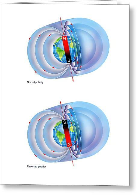 Magnetic Field Reversal Greeting Card by Gary Hincks