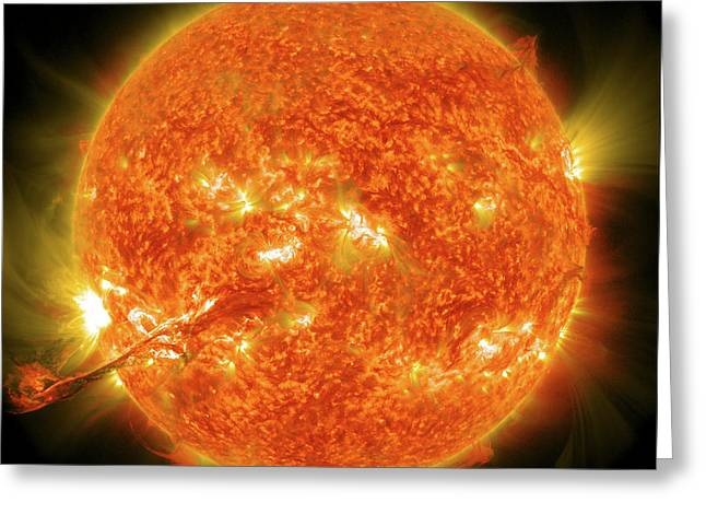 Ejection Greeting Cards - Magnificent Coronal Mass Ejection Greeting Card by Stocktrek Images
