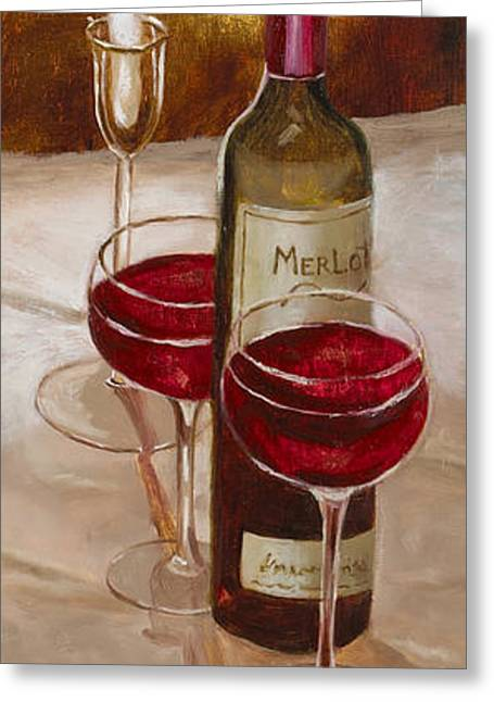 Table Wine Greeting Cards - Magnificent Evening with Gold Leaf by Vic Mastis Greeting Card by Vic  Mastis