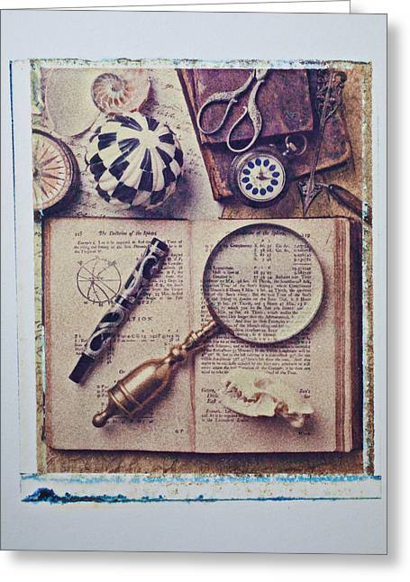 Transfer Greeting Cards - Magnifying glass on old book Greeting Card by Garry Gay