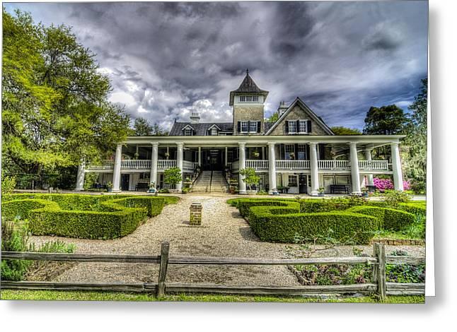 Charleston Sidewalk Greeting Cards - Magnolia Plantation Home Greeting Card by Drew Castelhano
