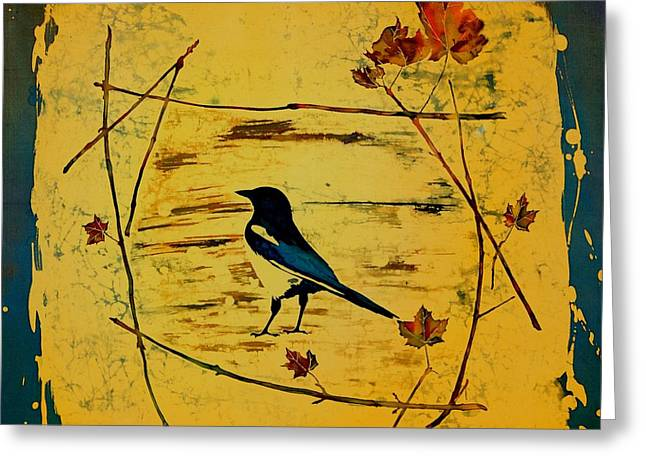 Golds Tapestries - Textiles Greeting Cards - Magpie Framed in Maple Greeting Card by Carolyn Doe