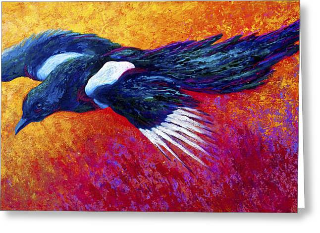 Crows Paintings Greeting Cards - Magpie in Flight Greeting Card by Marion Rose