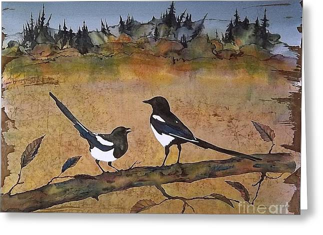 Dye Tapestries - Textiles Greeting Cards - Magpies in the last of Autumns Leaves Greeting Card by Carolyn Doe