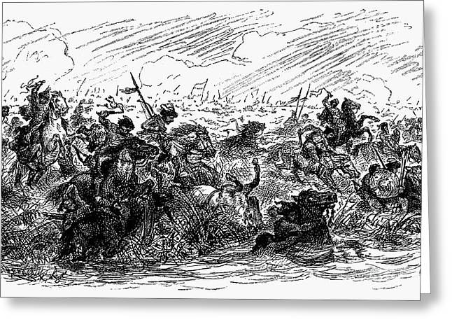 Engraving Greeting Cards - Magyar Warriors, 955 A.d Greeting Card by Granger