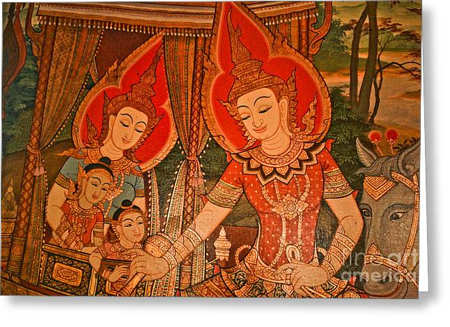 Buddha Sketch Greeting Cards - Maha Vessantara Greeting Card by Phaitoon Chooti