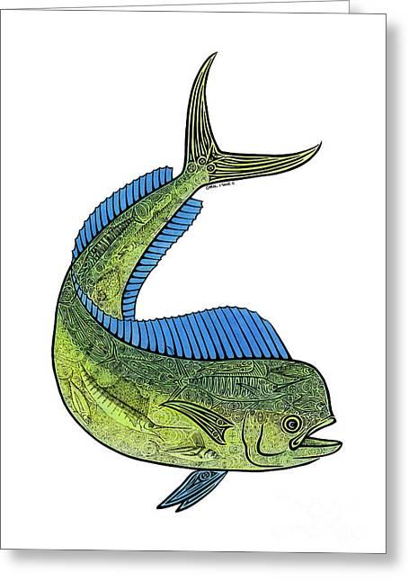 Sea Animals Mixed Media Greeting Cards - Mahi II Greeting Card by Carol Lynne