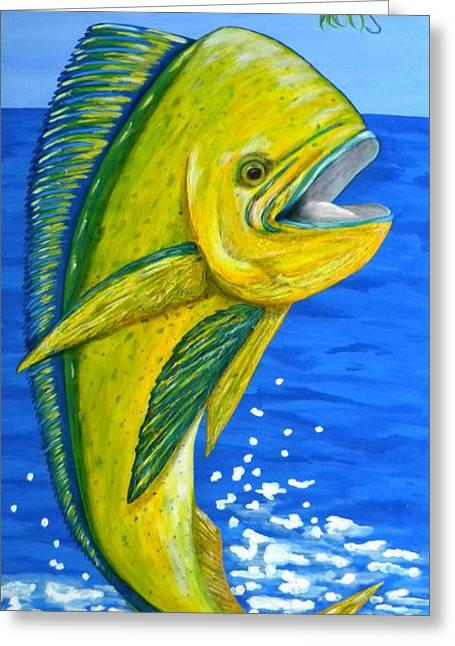 Yellow Fish Mixed Media Greeting Cards - Mahi Mahi Greeting Card by JoAnn Wheeler