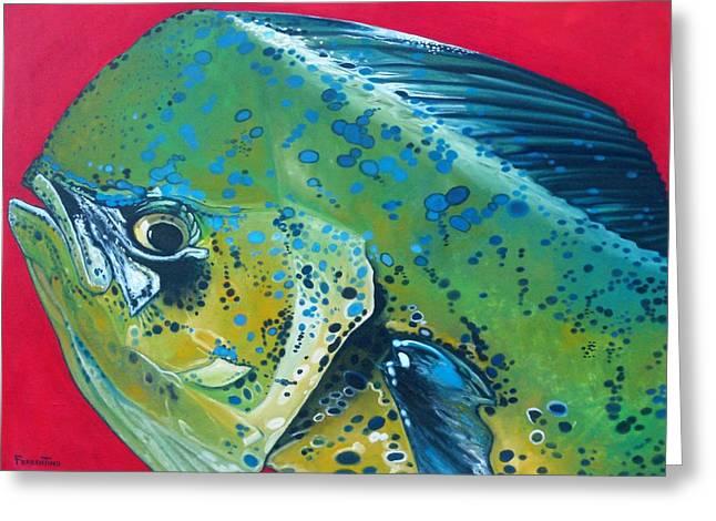 Recently Sold -  - Aquatic Greeting Cards - Mahi Mahi Greeting Card by Jon Ferrentino