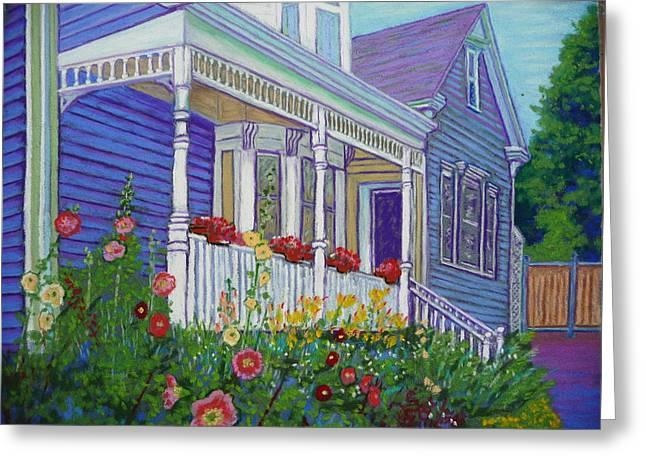 Canada Pastels Greeting Cards - Mahone Bay hollyhocks Greeting Card by Rae  Smith