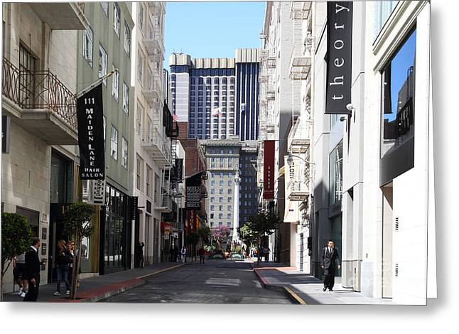 Union Square Greeting Cards - Maiden Lane . San Francisco Greeting Card by Wingsdomain Art and Photography