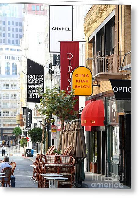 Union Square Greeting Cards - Maiden Lane San Francisco . 7D7350 Greeting Card by Wingsdomain Art and Photography