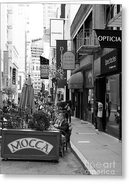 Maiden Lane San Francisco California - 5d19376 - Black And White Greeting Card by Wingsdomain Art and Photography