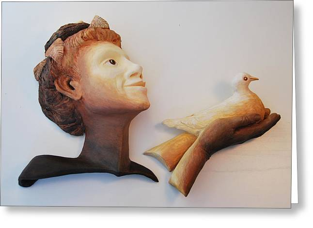 Person Sculptures Greeting Cards - Maiden of Flight Greeting Card by Janet Knocke