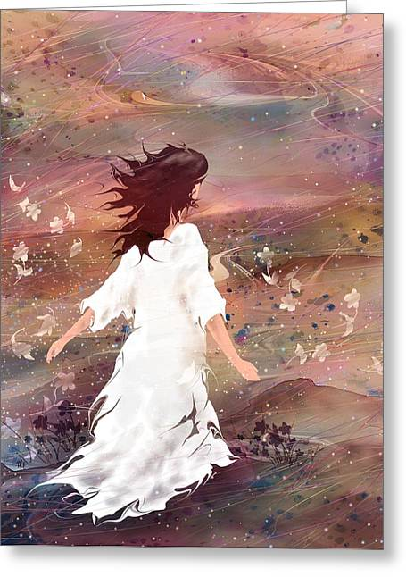 Maiden Greeting Cards - Maiden of God Greeting Card by Rachel Christine Nowicki
