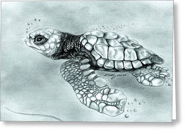 Baby Animal Drawings Greeting Cards - Maiden Voyage Greeting Card by Kathleen Kelly Thompson