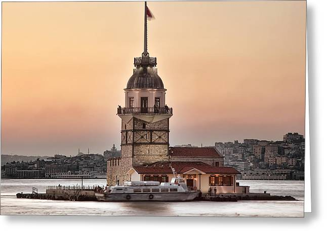 Istanbul Pyrography Greeting Cards - Maidens tower Greeting Card by Ozkan Konu