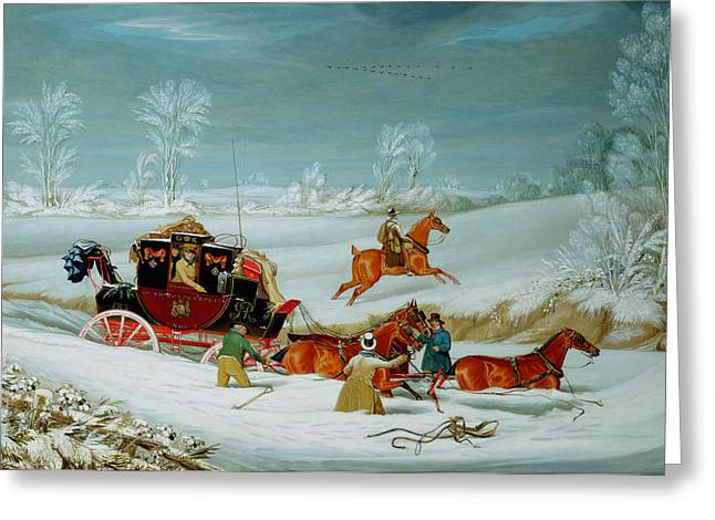 Hansom Greeting Cards - Mail Coach in the Snow Greeting Card by John Pollard